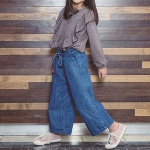 Girl's Zara Outfit - Plaid Top and Culottes Jeans
